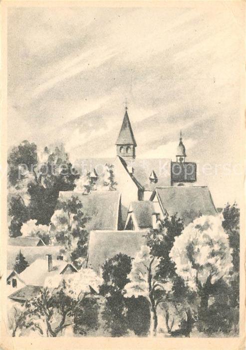 AK / Ansichtskarte Enger Ortsansicht mit Kirche nach Originalzeichnung von Eva Heiner Kuenstlerkarte 1000 Jahrfeier Enger