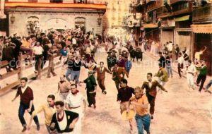 AK / Ansichtskarte Pamplona_Navarra El encierro a su paso por la calle Blanca de Navarra Pamplona Navarra