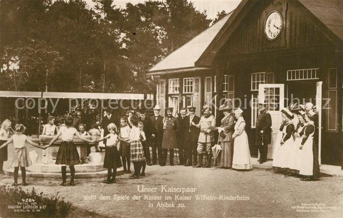 AK / Ansichtskarte Adel_Preussen Kaiserpaar Kaiser Wilhelm Kinderheim Ahlbek Kinder  Adel Preussen