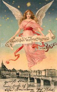AK / Ansichtskarte Schutzengel Weihnachten Basel Litho Schutzengel