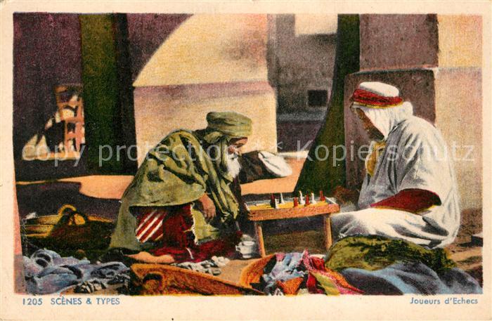 AK / Ansichtskarte Schach Scenes & Types Joueurs d Echecs Arabien Schach