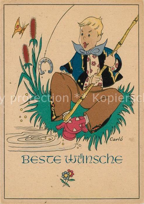 AK / Ansichtskarte Wuppertal Junge beim Angeln Hufeisen Kuenstlerkarte Wuppertal