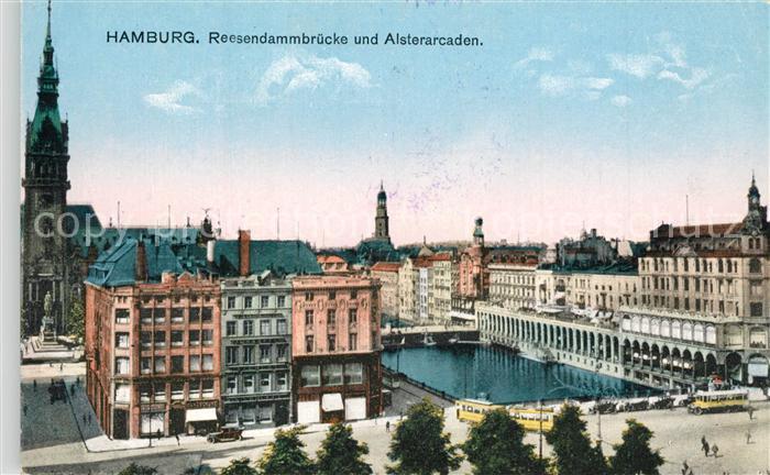 AK / Ansichtskarte Hamburg Reesendammbruecke und Alsterarkaden Hamburg