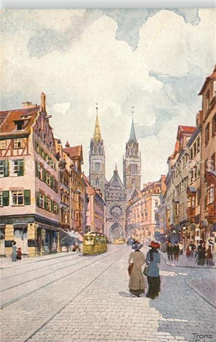 AK / Ansichtskarte Nuernberg Karolinenstrasse Lorenzkirche Franz Schmidt Kuenstlerkarte Nuernberg