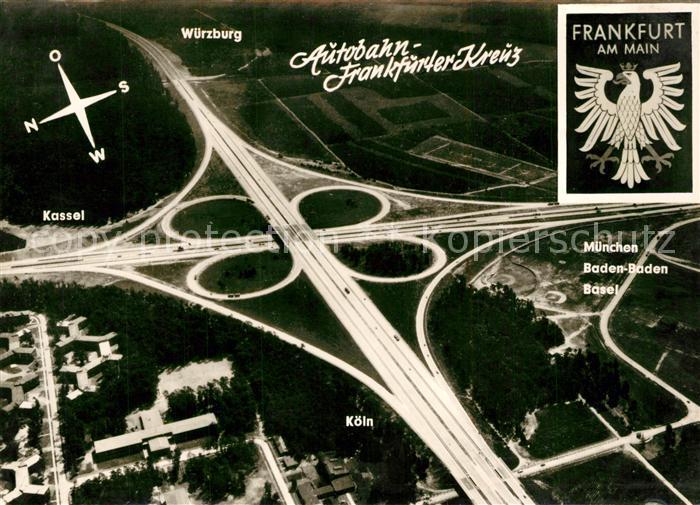 AK / Ansichtskarte Autobahn Frankfurter Kreuz Fliegeraufnahme Autobahn