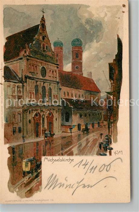 AK / Ansichtskarte Kley Muenchen Michaelskirche Litho Kley