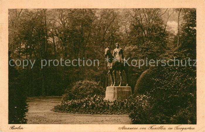 AK / Ansichtskarte Berlin Amazone von Tuaillon Reiterstandbild Statue im Tiergarten Berlin