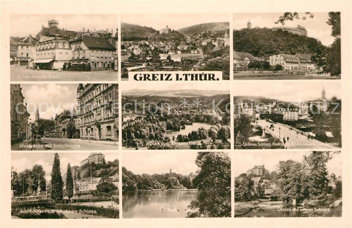 AK / Ansichtskarte Greiz_Thueringen Ernst Arnold Platz Idastrasse Schlosskirche Platz Schloss Landschaftspanorama Weisses Kreuz Denkmal Park See Greiz Thueringen