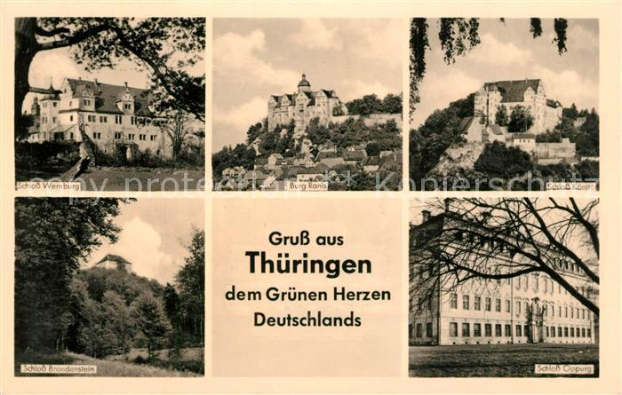 AK / Ansichtskarte Thueringen_Region Schloss Wernburg Schloss Brandenstein Burg Ranis Schloss Koenitz Schloss Oppurg Thueringen Region