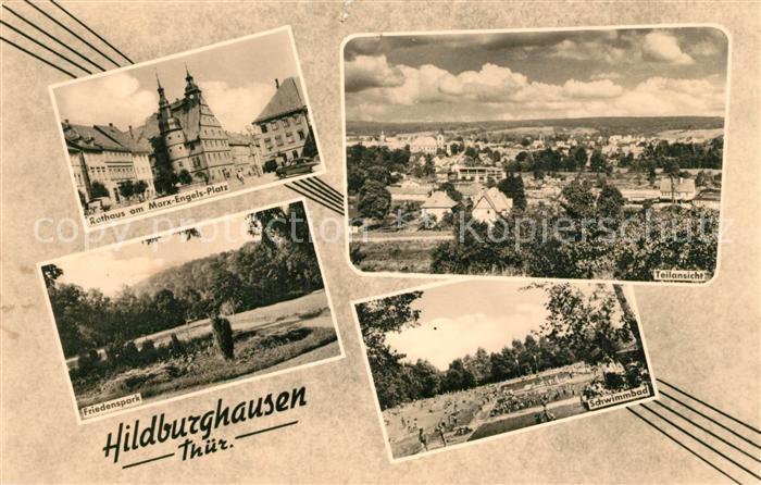 AK / Ansichtskarte Hildburghausen Rathaus Marx Engels Platz Friedenspark Schwimmbad Freibad Panorama Hildburghausen