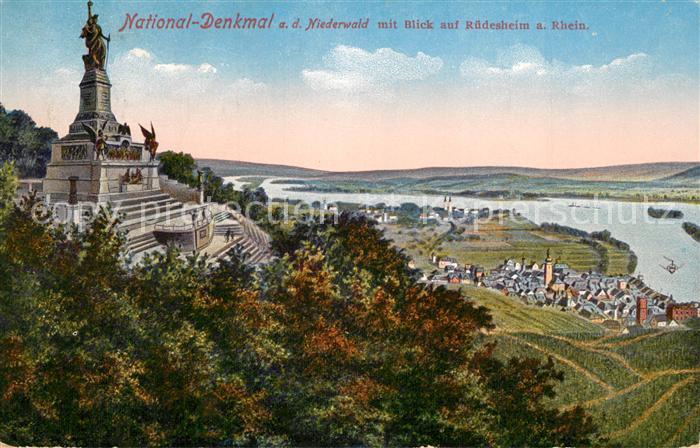 AK / Ansichtskarte Ruedesheim_Rhein Nationaldenkmal Niederwald mit Blick auf die Stadt Ruedesheim Rhein