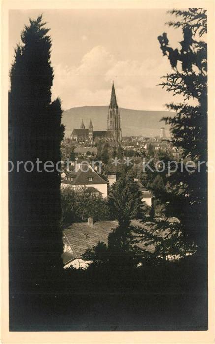 AK / Ansichtskarte Freiburg_Breisgau Durchblick zur Stadt mit Muenster Freiburg Breisgau