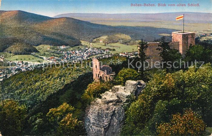 AK / Ansichtskarte Baden Baden Panorama Blick vom alten Schloss Baden Baden