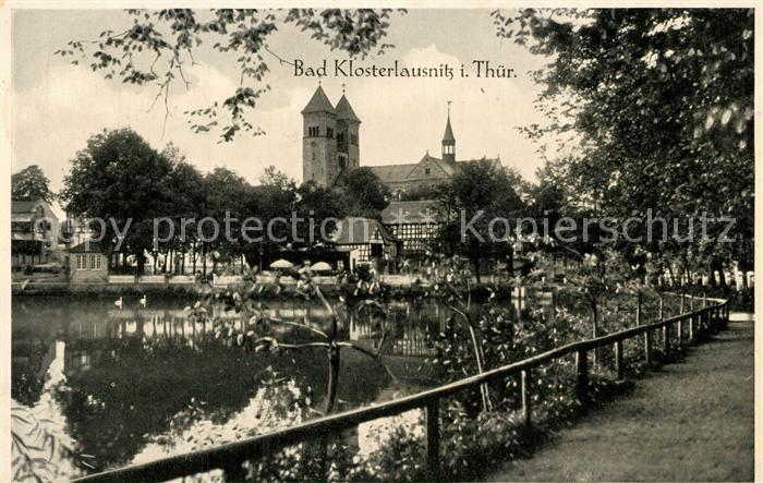 Bad_Klosterlausnitz Partie am Wasser Blick zur Kirche Bad_Klosterlausnitz