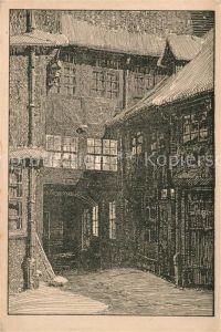 Braunschweig Alter Hof im Winter Federzeichnung von Rudolf Sievers Kunstmappe Braunschweig Kuenstlerkarte Braunschweig