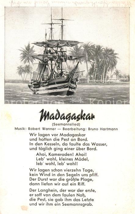 Madagaskar Segelschiff Palmen Seemannslied Kuenstlerkarte Madagaskar