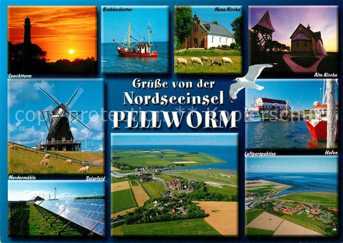 AK / Ansichtskarte Pellworm Insel Leuchtturm Krabbenkutter Hafen Solarfeld Pellworm