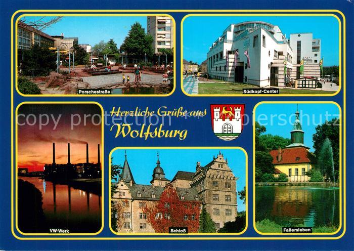 AK / Ansichtskarte Wolfsburg Porschestrasse Suedkopf Center Fallersleben Schloss VW Werk Wolfsburg