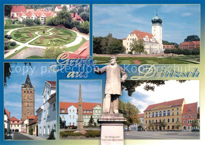 AK / Ansichtskarte Delitzsch Barockgarten Schloss Breiter Turm Rossplatz Schulze Delitzsch Denkmal Rathaus Delitzsch