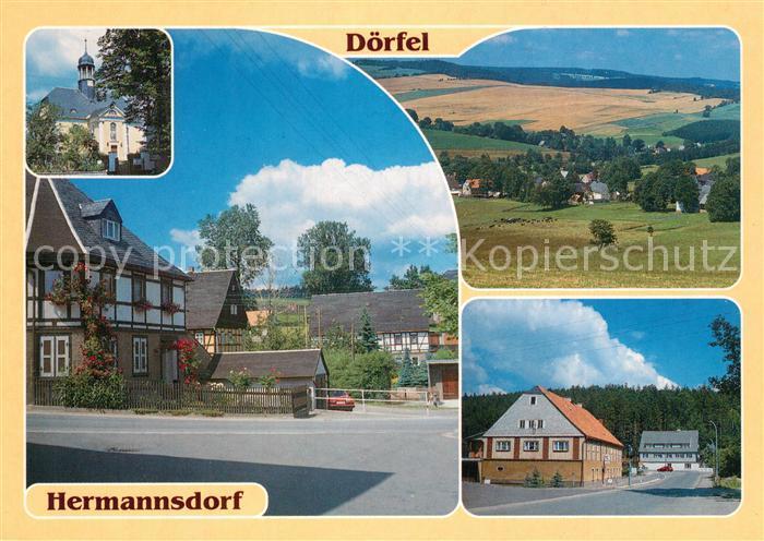 AK / Ansichtskarte Doerfel_Olbernhau Teilansicht Hermannsdorf Kirche Teilansicht Talmuehle Doerfel Olbernhau