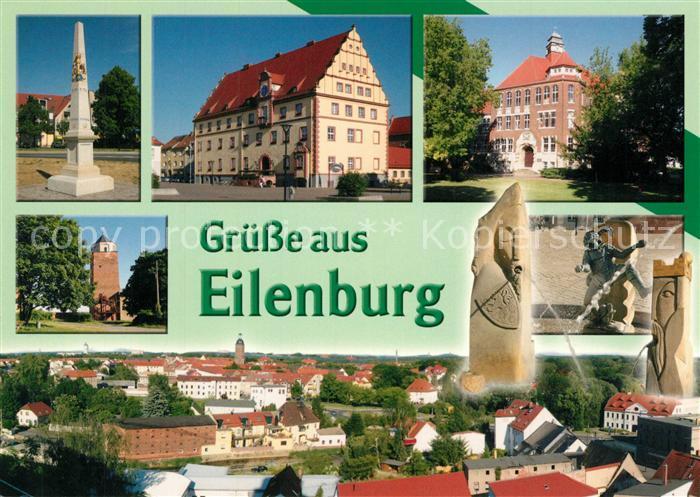 AK / Ansichtskarte Eilenburg Postsaeule Rathaus Rinckart Gymnasium Bergfried Heinzelmaennchen Brunnen Stadtpanorama Eilenburg