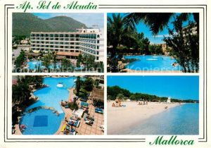 AK / Ansichtskarte Alcudia_Mallorca Apartamentos Sol de Alcudia Swimmingpool Strand Alcudia Mallorca