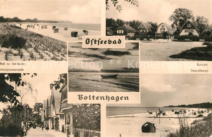 AK / Ansichtskarte Boltenhagen_Ostseebad Strand Blick zur Steilkueste Kurpark Promenade Sonnenuntergang am Meer Boltenhagen_Ostseebad