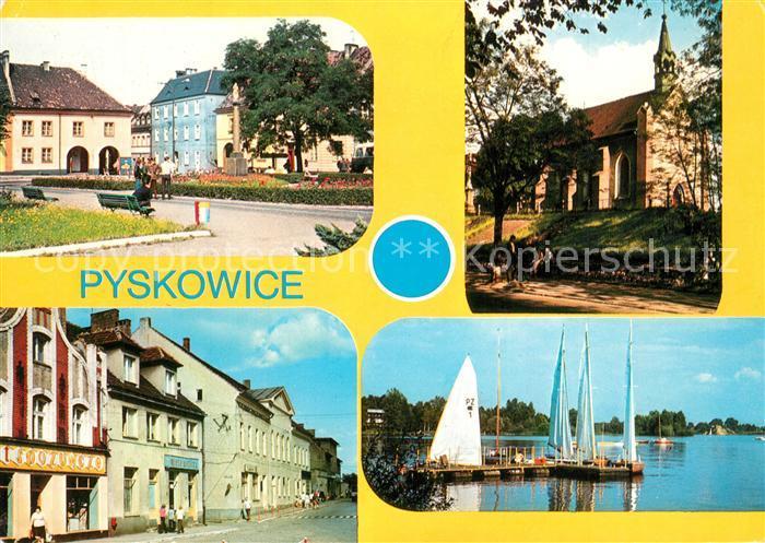 AK / Ansichtskarte Pyskowice Rathaus Kirche Hafen  Pyskowice