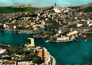 AK / Ansichtskarte Marseille_Bouches du Rhone Vue aerienne Vieux Port avec les Forts St Jean et St Nicolas Basilique Notre Dame de la Garde Marseille