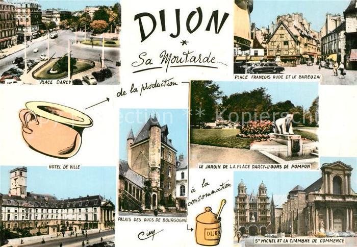AK / Ansichtskarte Dijon_Cote_d_Or Place Darcy Place Francois Rude et le Bareuzai Hotel de Ville Jardin de la Place Carcy Palais des Dux de Bourgogne St Michel et la Chambre de Commerce Dijon_Cote_d_Or