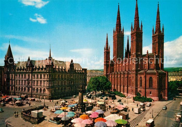 AK / Ansichtskarte Wiesbaden Marktplatz Rathaus Kirche Wiesbaden