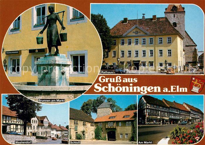 AK / Ansichtskarte Schoeningen Brunnen am Marktplatz Rathaus Westendorf Schloss  Schoeningen
