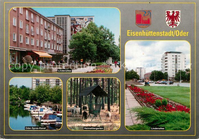 AK / Ansichtskarte Eisenhuettenstadt Lindenallee Oder Spree Kanal Heimattiergarten Lindenallee Hochhaus Wappen Eisenhuettenstadt