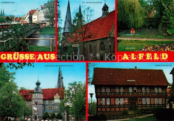 AK / Ansichtskarte Alfeld_Leine Leinebruecke St Nicolaikirche Anlagen Rathaus Marktplatz Heimatmuseum Alfeld_Leine