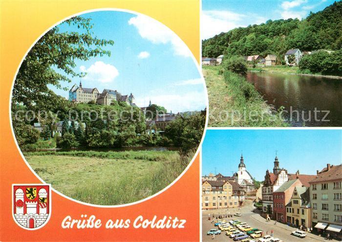 AK / Ansichtskarte Colditz Schloss Partie an der Mulde Markt Altstadt Kirche Colditz