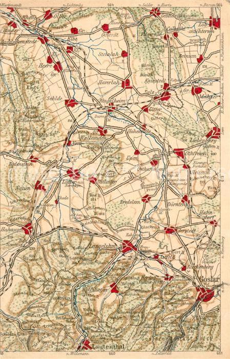 Goslar Karte.Ak Ansichtskarte Goslar Und Umgebung Landkarte Wona Karte Goslar
