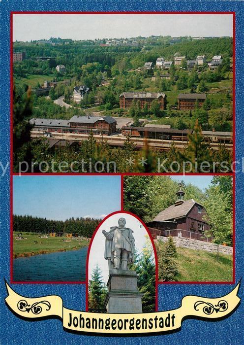 AK / Ansichtskarte Johanngeorgenstadt Panorama Sommerbad Denkmal Kurfuerst Johann Georg I Schauberwerk Gloeckl Johanngeorgenstadt