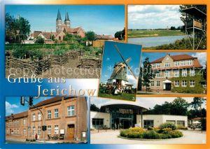 AK / Ansichtskarte Jerichow Klosterkirche Bucher Brack Aussichtsturm Hollaenderwindmuehle Grundschule Rathaus Fachkrankenhaus Jerichow