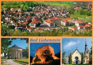AK / Ansichtskarte Bad_Liebenstein Panorama Blick von der Burgruine Brunnentempel Burgruine mit Beleuchtung Kirche Bad_Liebenstein