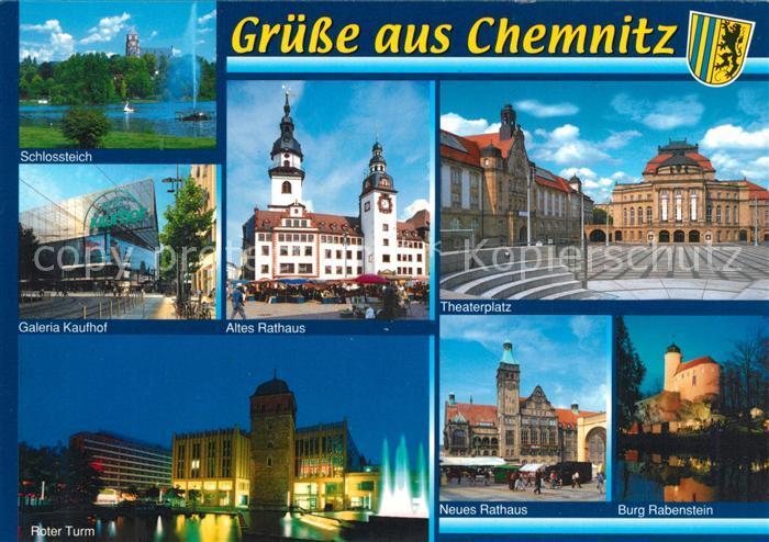 AK / Ansichtskarte Chemnitz Schlossteich Galeria Kaufhof Roter Turm Rathaus Theater Platz Burg Rabenstein Chemnitz