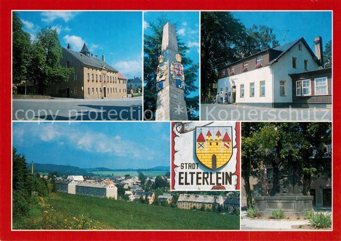 AK / Ansichtskarte Elterlein Markt Postmeilensaeule Finkenburg Barbara Uttmann Brunnen Elterlein