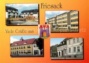 AK / Ansichtskarte Friesack Sozialer Wohnungsbau Schule Rathaus Markt Museum Friesack