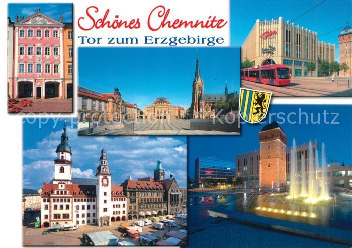 AK / Ansichtskarte Chemnitz Siegertsches Haus Opernhaus Kirche Roter Turm Wasserspiele Rathaus Strassenbahn Kaufhaus Chemnitz