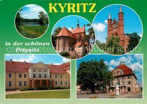 AK / Ansichtskarte Kyritz_Brandenburg Uferpartie an der Prignitz Kirche Friedenseiche Schloss Kyritz Brandenburg