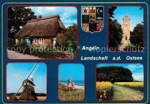 AK / Ansichtskarte Schleswig Holstein Landschaft Angeln an der Ostsee Reetdachhaus Windmuehle Turm Rapsfelder Strand Wappen Schleswig Holstein