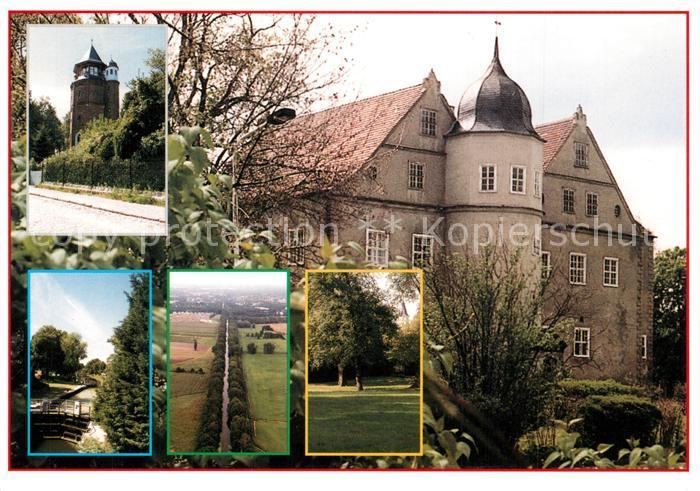 AK / Ansichtskarte Koenigs Wusterhausen Schloss Park Turm Kanal Landschaftspanorama Koenigs Wusterhausen