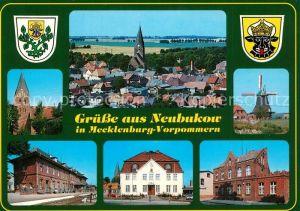 AK / Ansichtskarte Neubukow Ortsmotiv mit Kirche Windmuehle Bahnhof Rathaus Wappen Neubukow