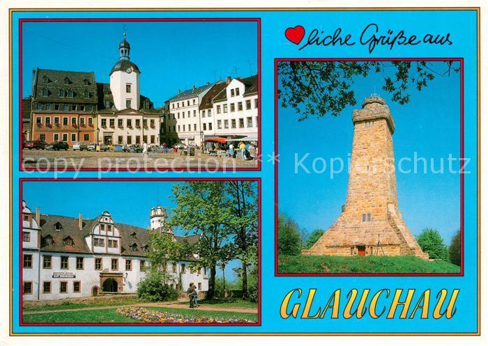 AK / Ansichtskarte Glauchau Markt Rathaus Schloss Forderglauchau Bismarckturm Glauchau