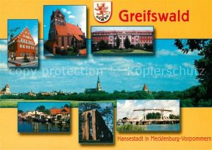 AK / Ansichtskarte Greifswald Rathaus Kirche Gebaeude Klappbruecke Klosterruine Eldena Hafen Greifswald