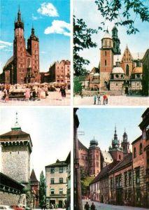AK / Ansichtskarte Krakow_Krakau Kosciol Mariacki Brama Florianska Katedra na Wawelu Krakow Krakau